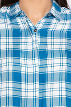 Load image into Gallery viewer, Checked Boxy Fit Petrol Shirt-5