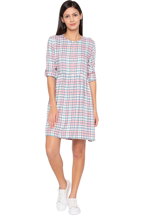 Checked Casual Pink Dress-1
