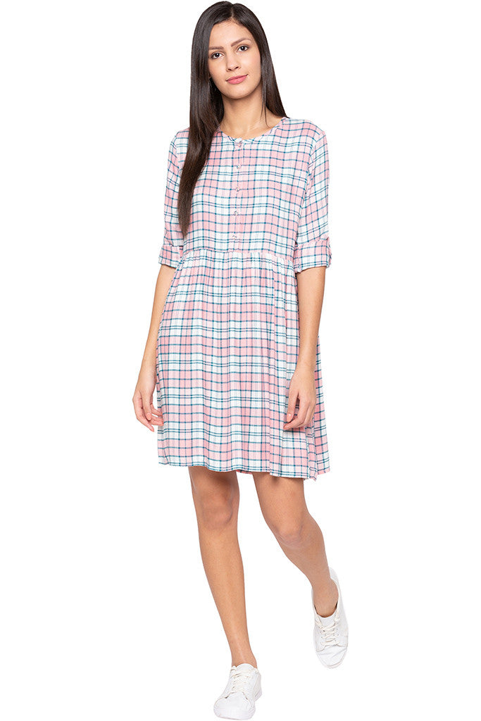 Checked Casual Pink Dress-2