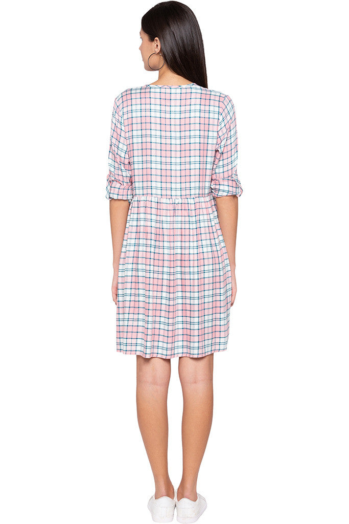 Checked Casual Pink Dress-3
