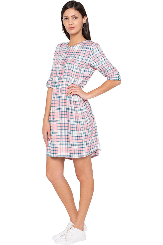 Checked Casual Pink Dress-4