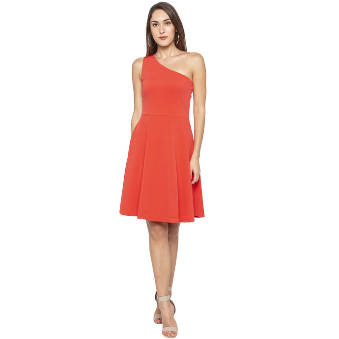 Casual Orange Color Solid Fit and Flare Dress-1