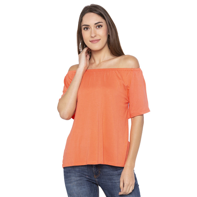 Casual Coral Color Solid Regular Fit Tops-1