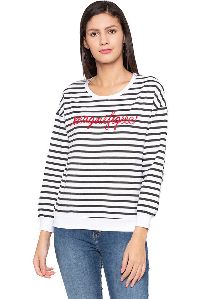 Striped Typography White Sweatshirt-1