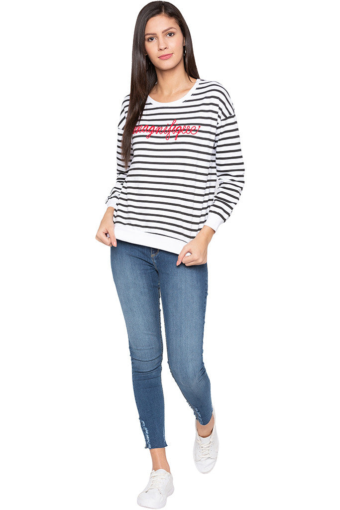 Striped Typography White Sweatshirt-2