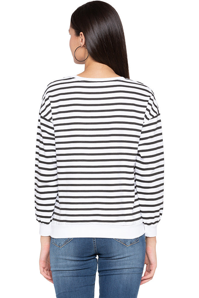 Striped Typography White Sweatshirt-3
