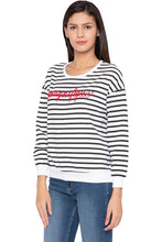 Load image into Gallery viewer, Striped Typography White Sweatshirt-4