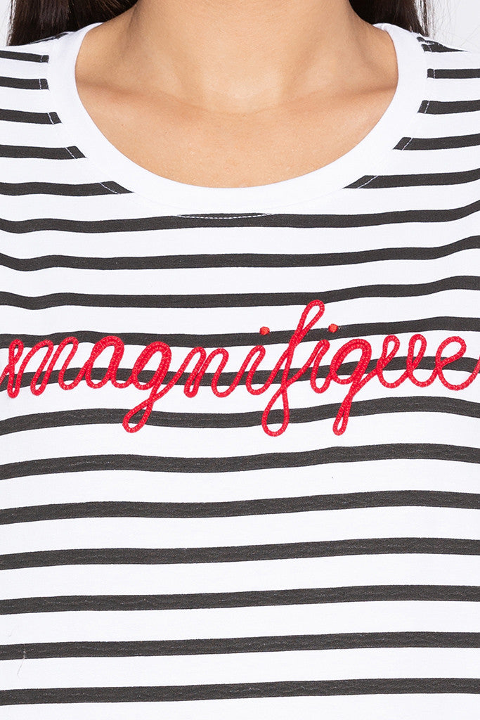 Striped Typography White Sweatshirt-5
