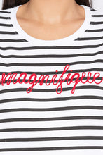 Load image into Gallery viewer, Striped Typography White Sweatshirt-5