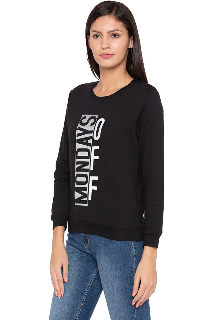 Printed Black Sweatshirt-4