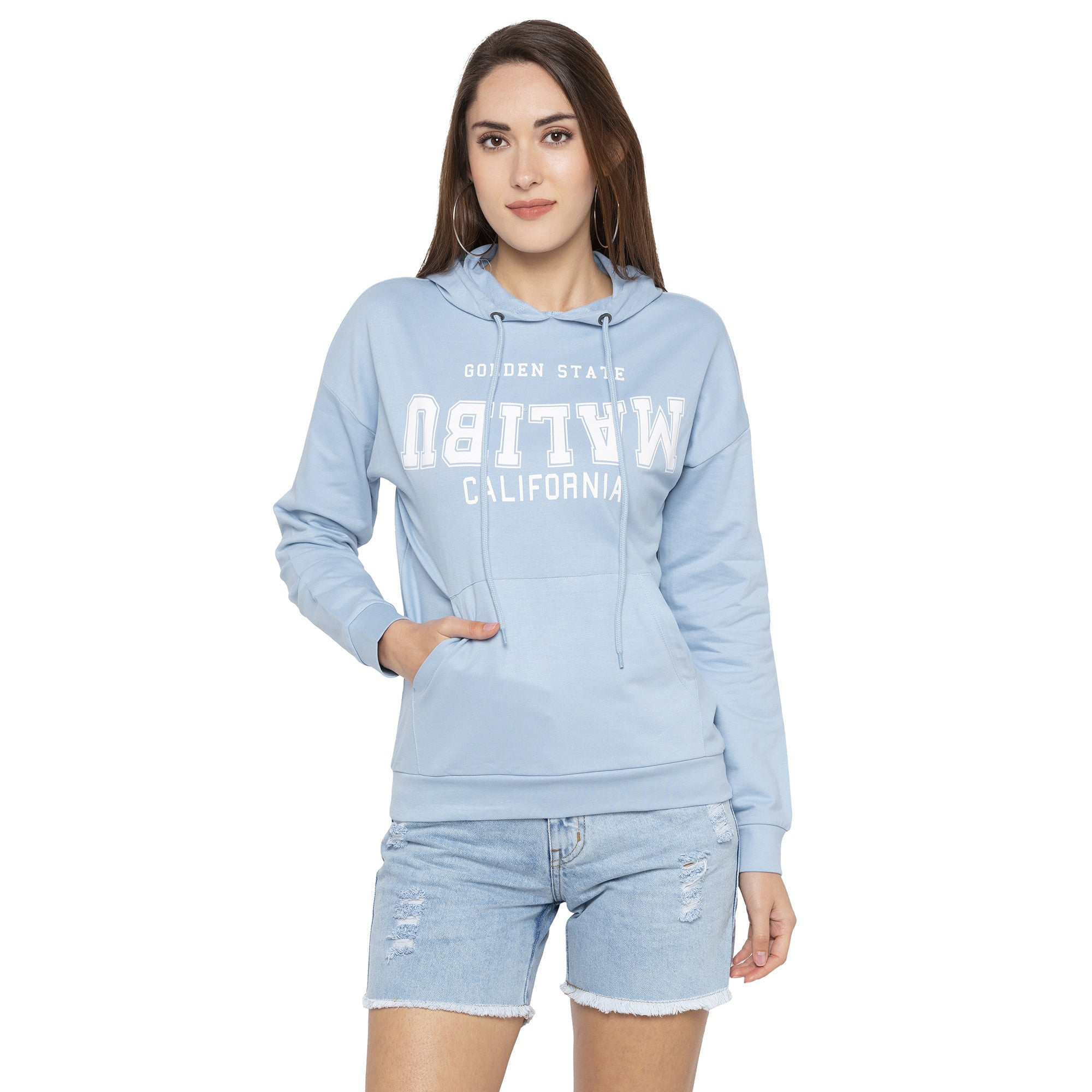Casual Blue Color Self Design Hooded Sweatshirt-1