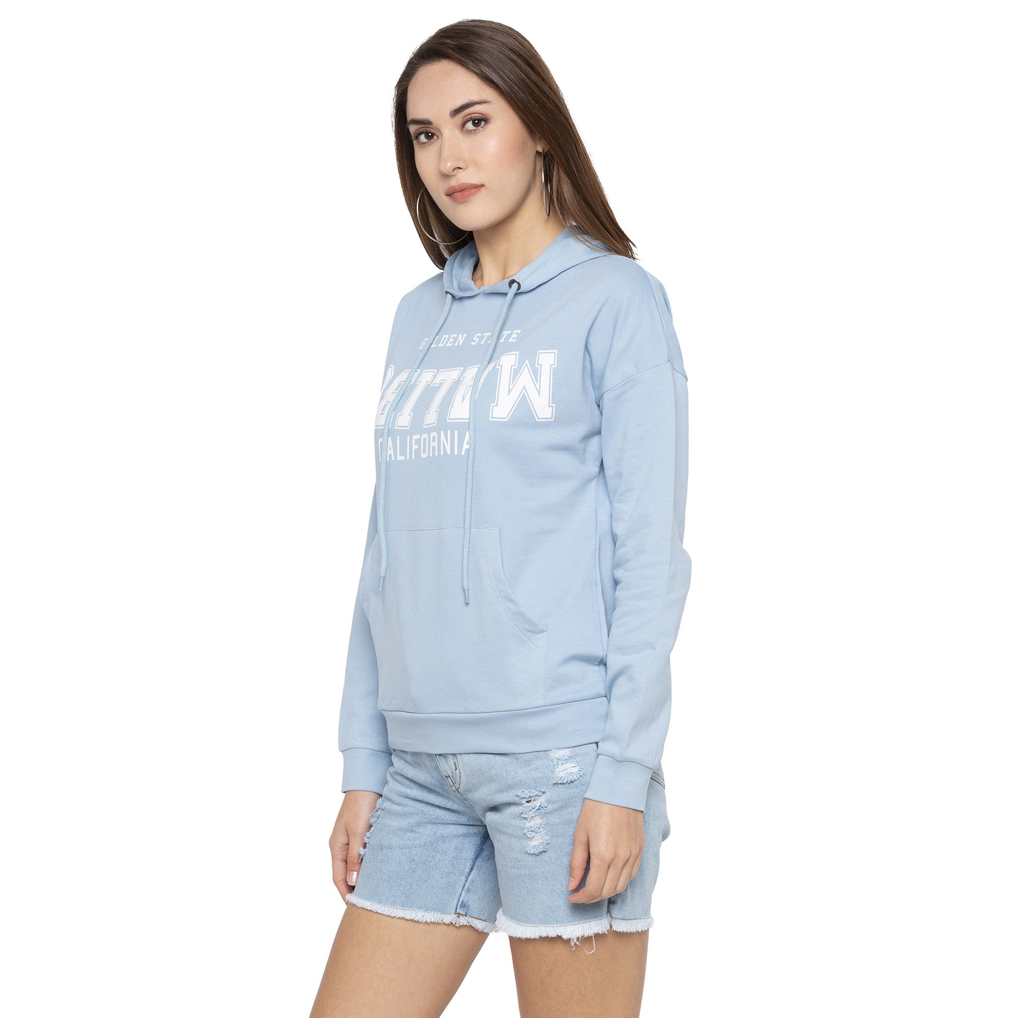 Casual Blue Color Self Design Hooded Sweatshirt-2