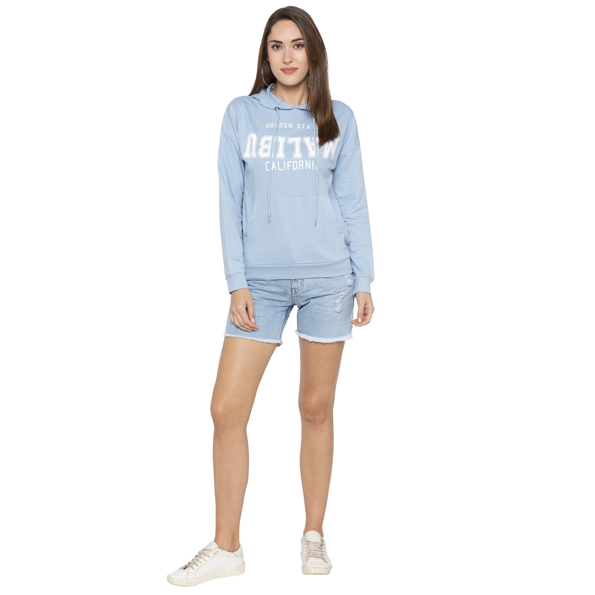 Casual Blue Color Self Design Hooded Sweatshirt-4
