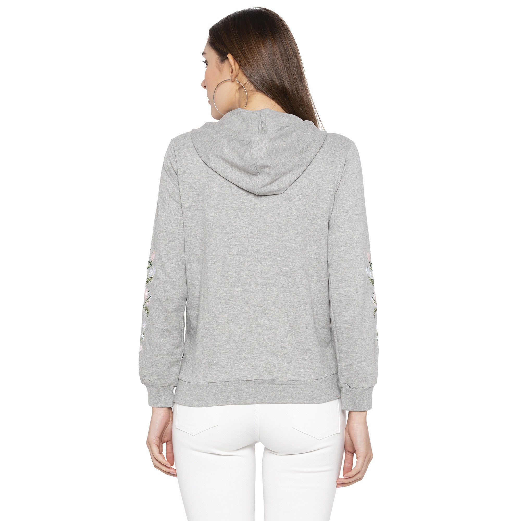 Casual Grey Color Solid Hooded Sweatshirt-3