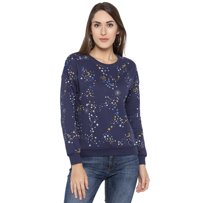 Casual Navy Blue Color Self Design Sweatshirt-1