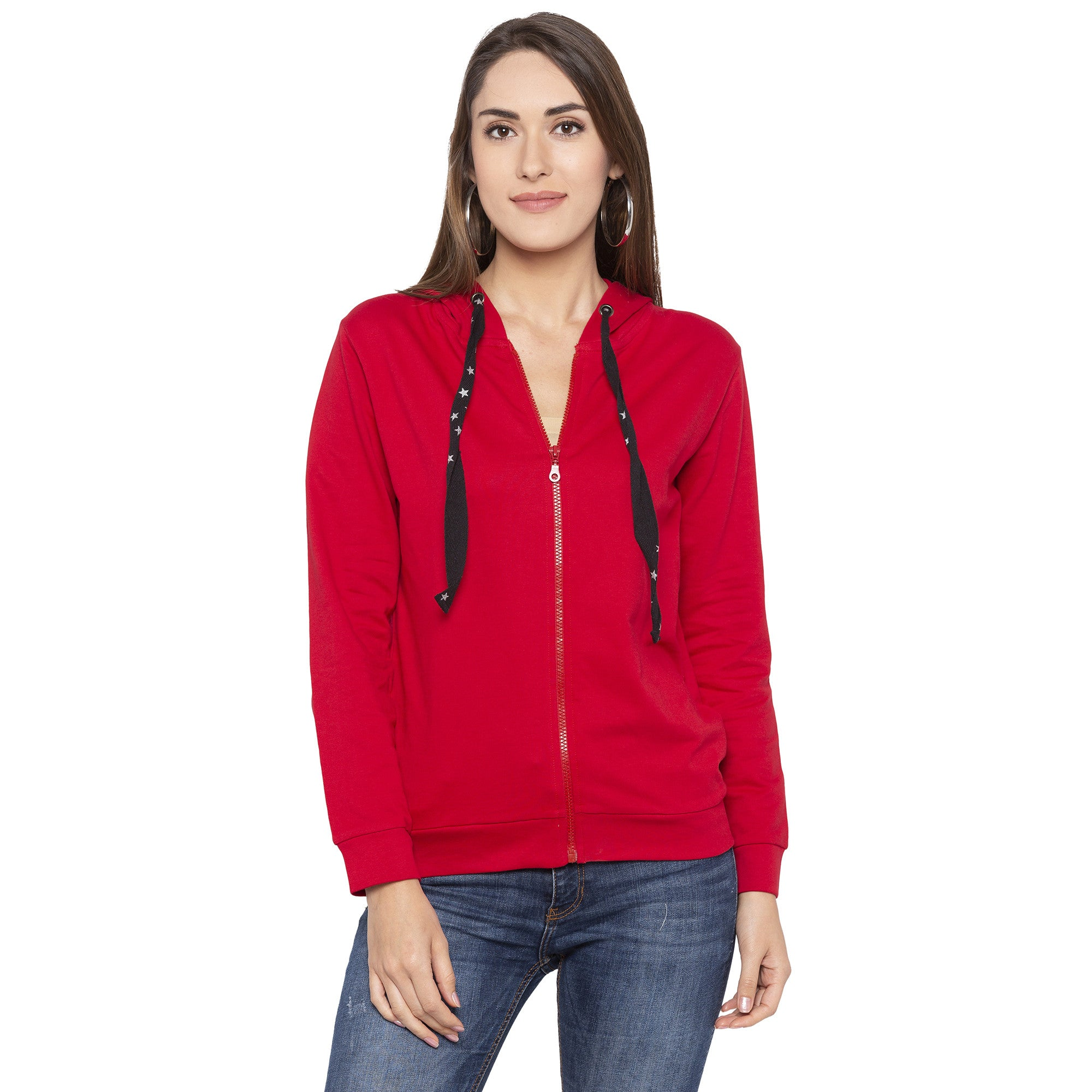 Casual Red Color Solid Hooded Sweatshirt-1