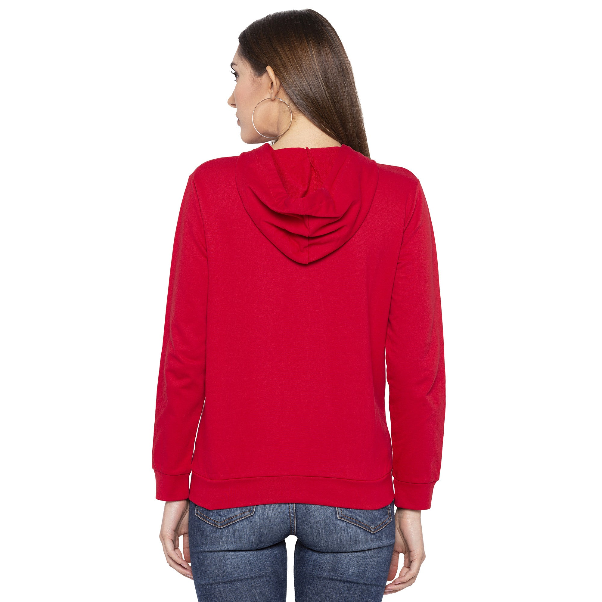 Casual Red Color Solid Hooded Sweatshirt-3