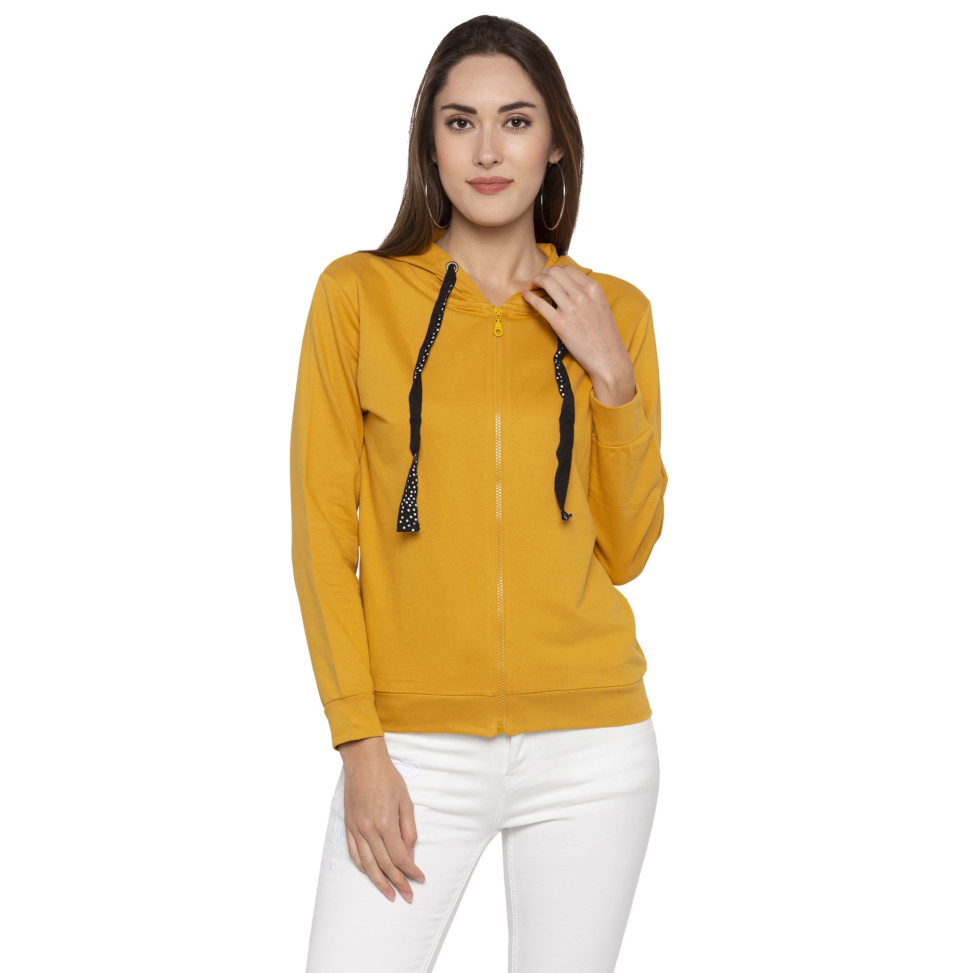 Casual Mustard Color Solid Hooded Sweatshirt-1