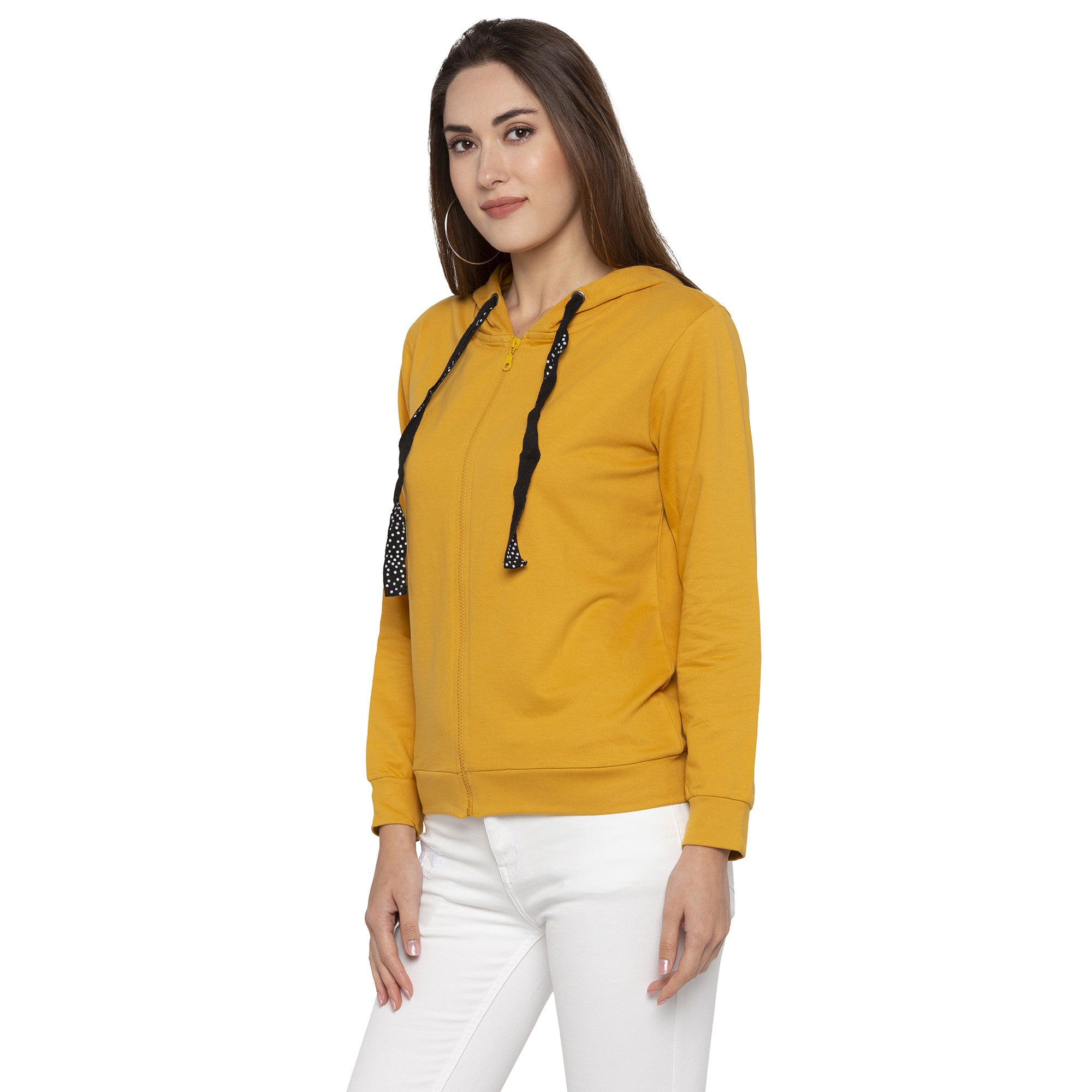 Casual Mustard Color Solid Hooded Sweatshirt-2