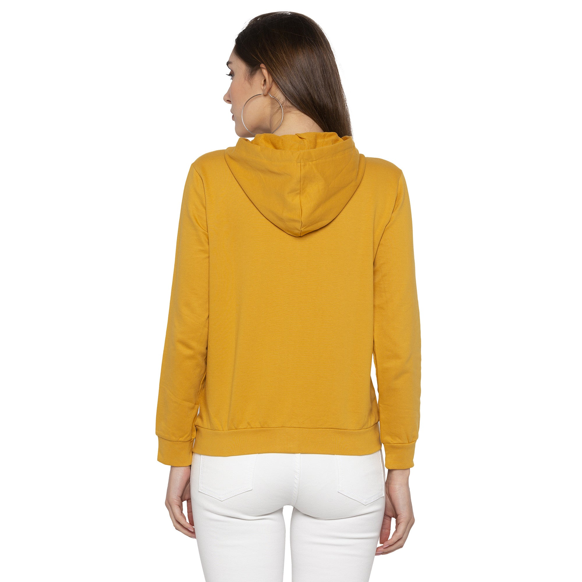 Casual Mustard Color Solid Hooded Sweatshirt-3
