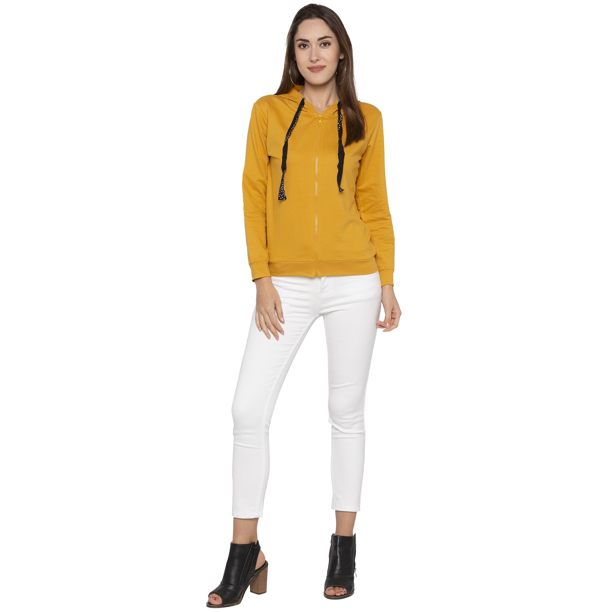 Casual Mustard Color Solid Hooded Sweatshirt-4