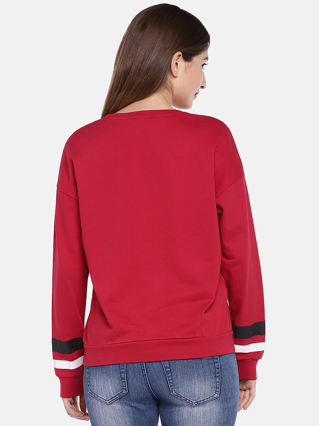 Red & Off-White Printed Sweatshirt-3