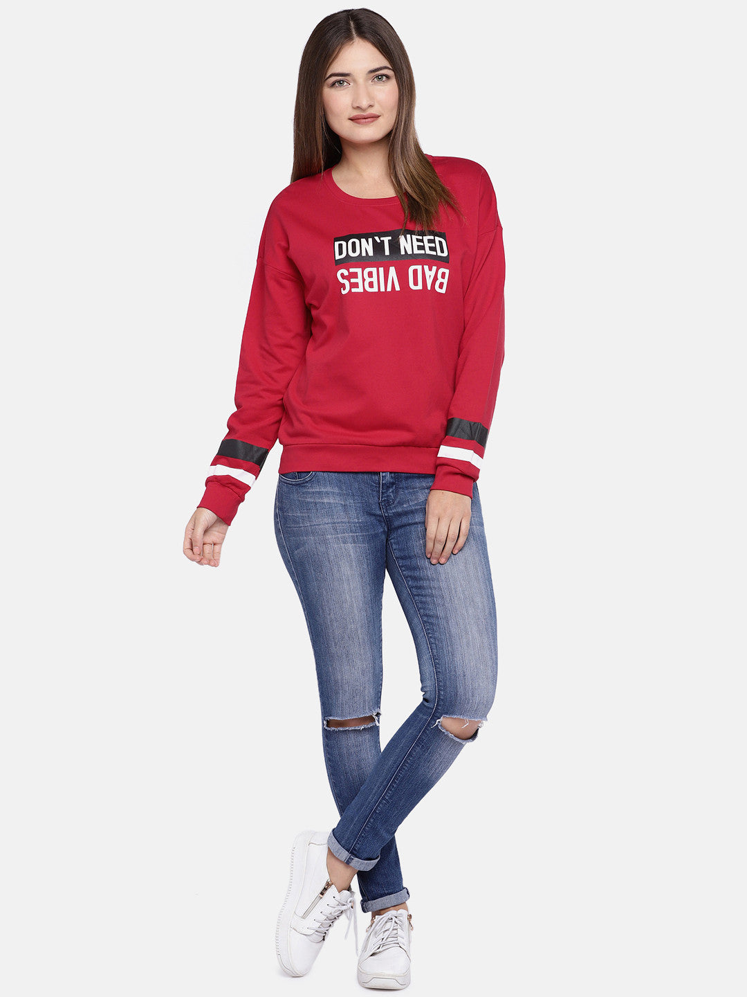 Red & Off-White Printed Sweatshirt-4