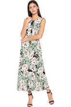 Load image into Gallery viewer, Floral Print Tie-up Neck Maxi Dress-1