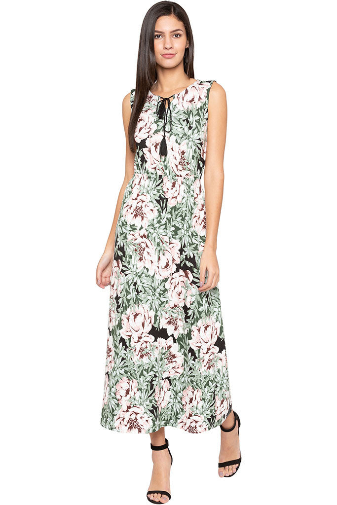 Floral Print Tie-up Neck Maxi Dress-2