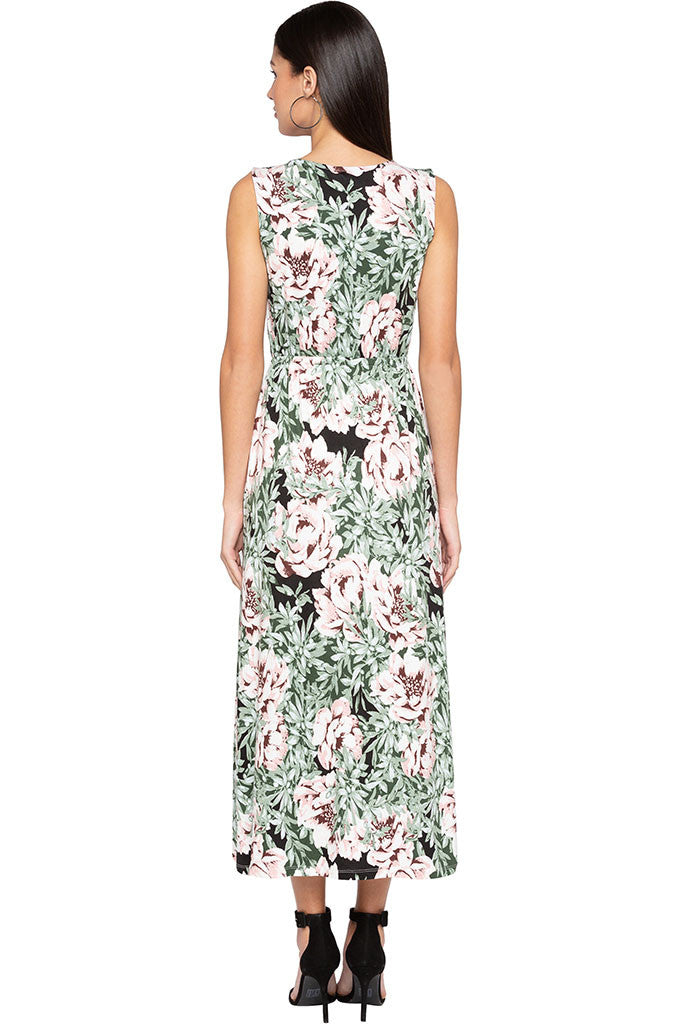 Floral Print Tie-up Neck Maxi Dress-3