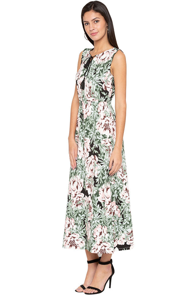 Floral Print Tie-up Neck Maxi Dress-4