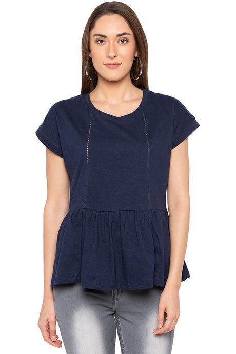 Ladder Lace Peplum Navy Blue Top-1