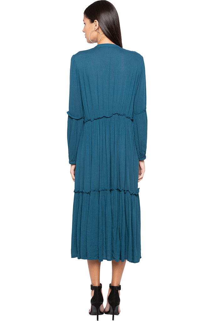 Solid Tiered Midi Dress-3