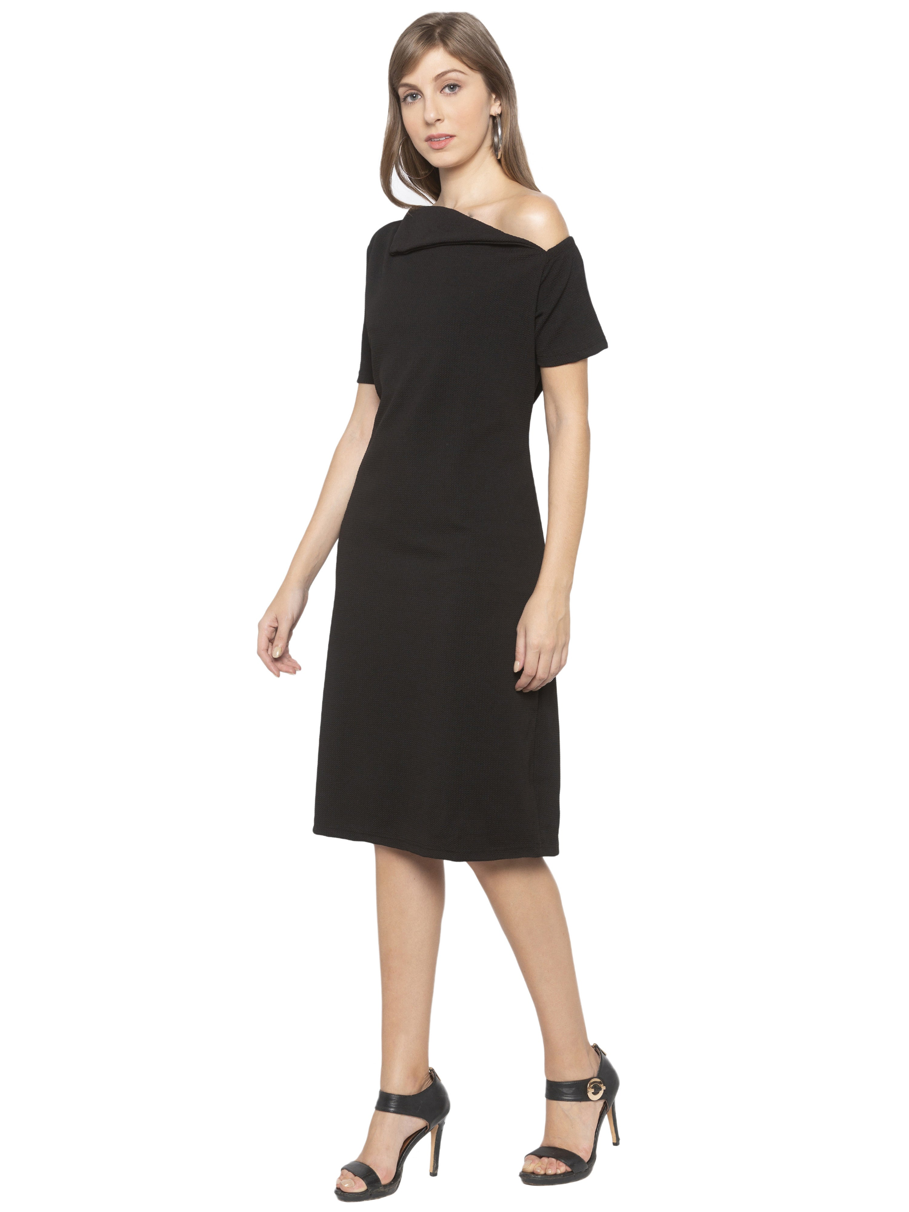 Black Solid Dress-4
