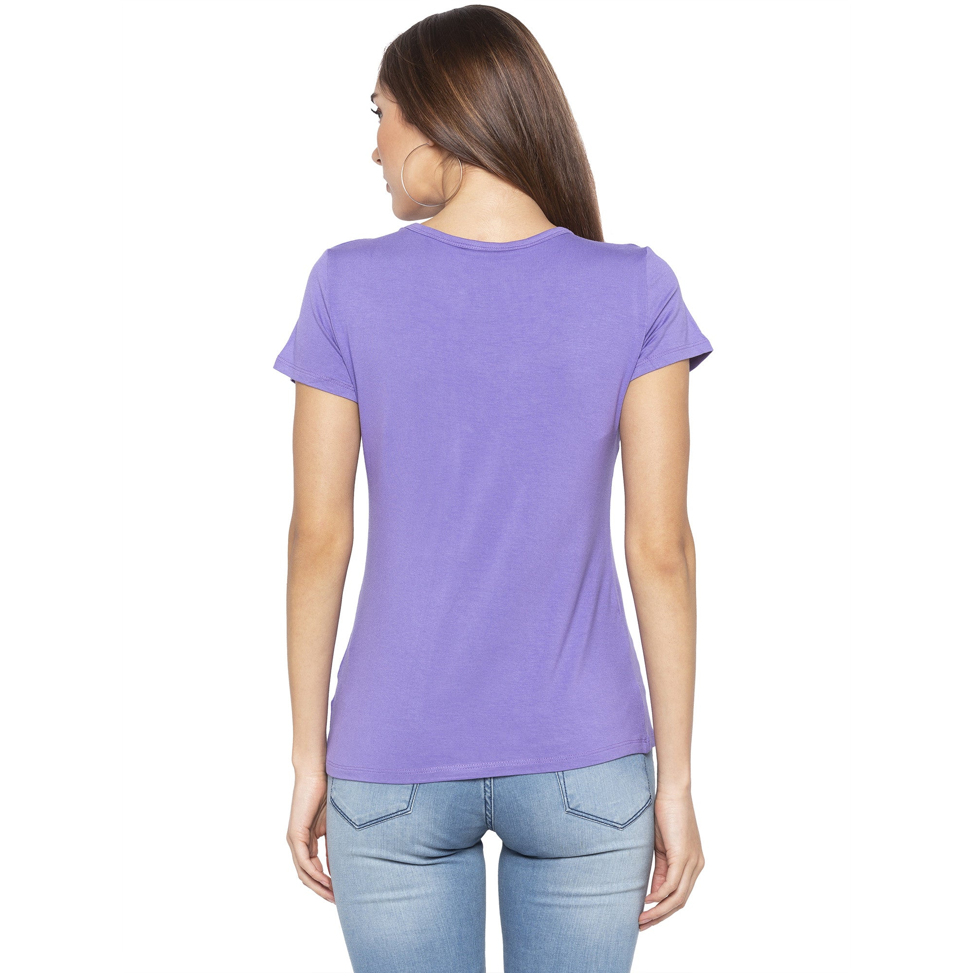 Casual Purple Color Solid Regular Fit Tops-3