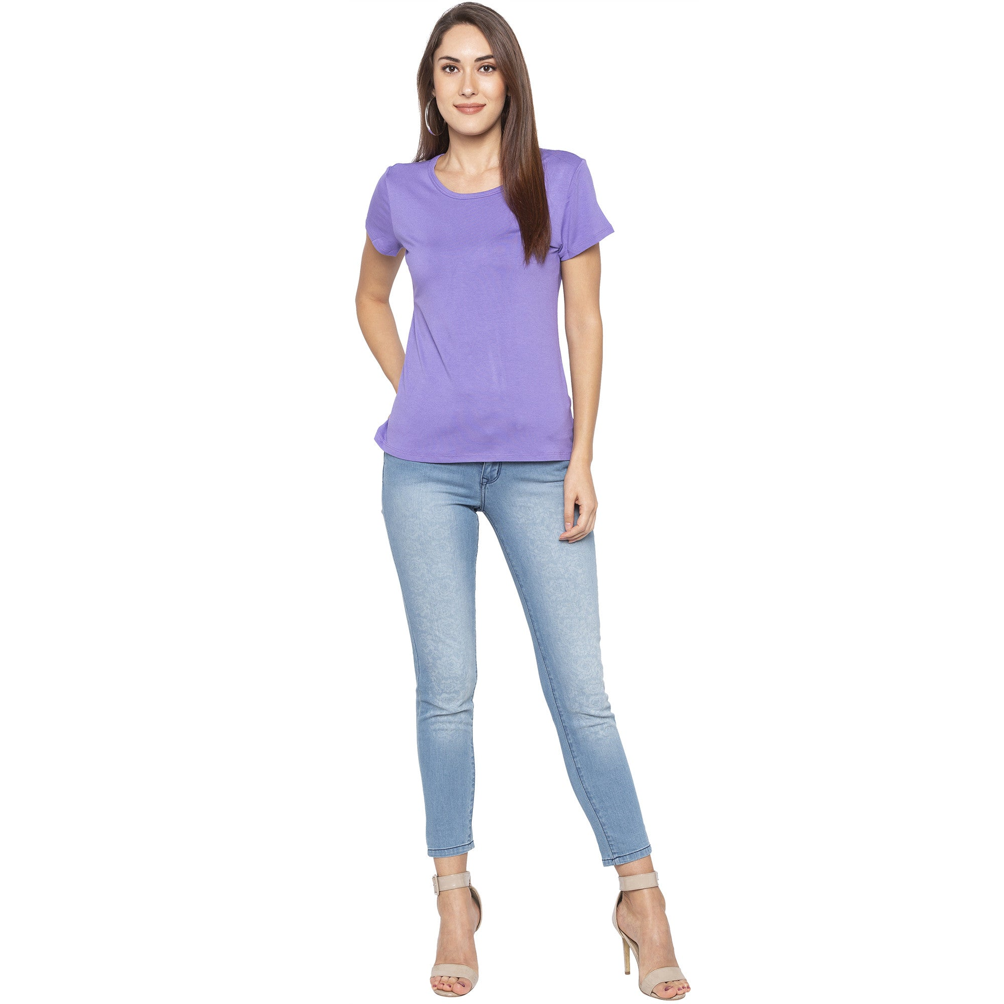 Casual Purple Color Solid Regular Fit Tops-4
