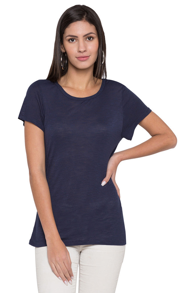 Round Neck Solid T-shirt-1