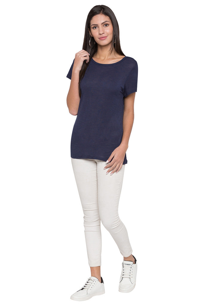 Round Neck Solid T-shirt-2