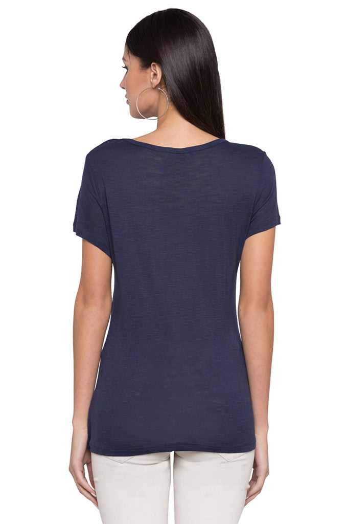 Round Neck Solid T-shirt-3