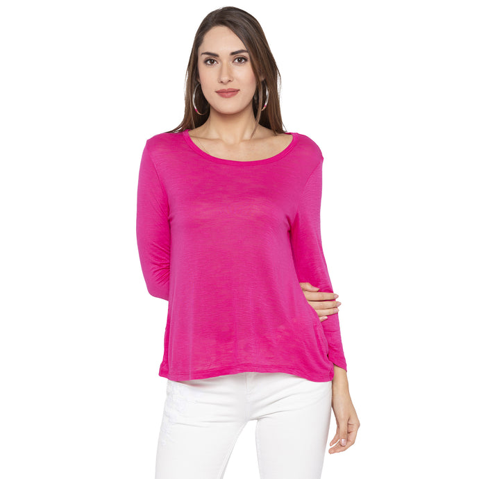 Casual Pink Color Solid Regular Fit Tops-1