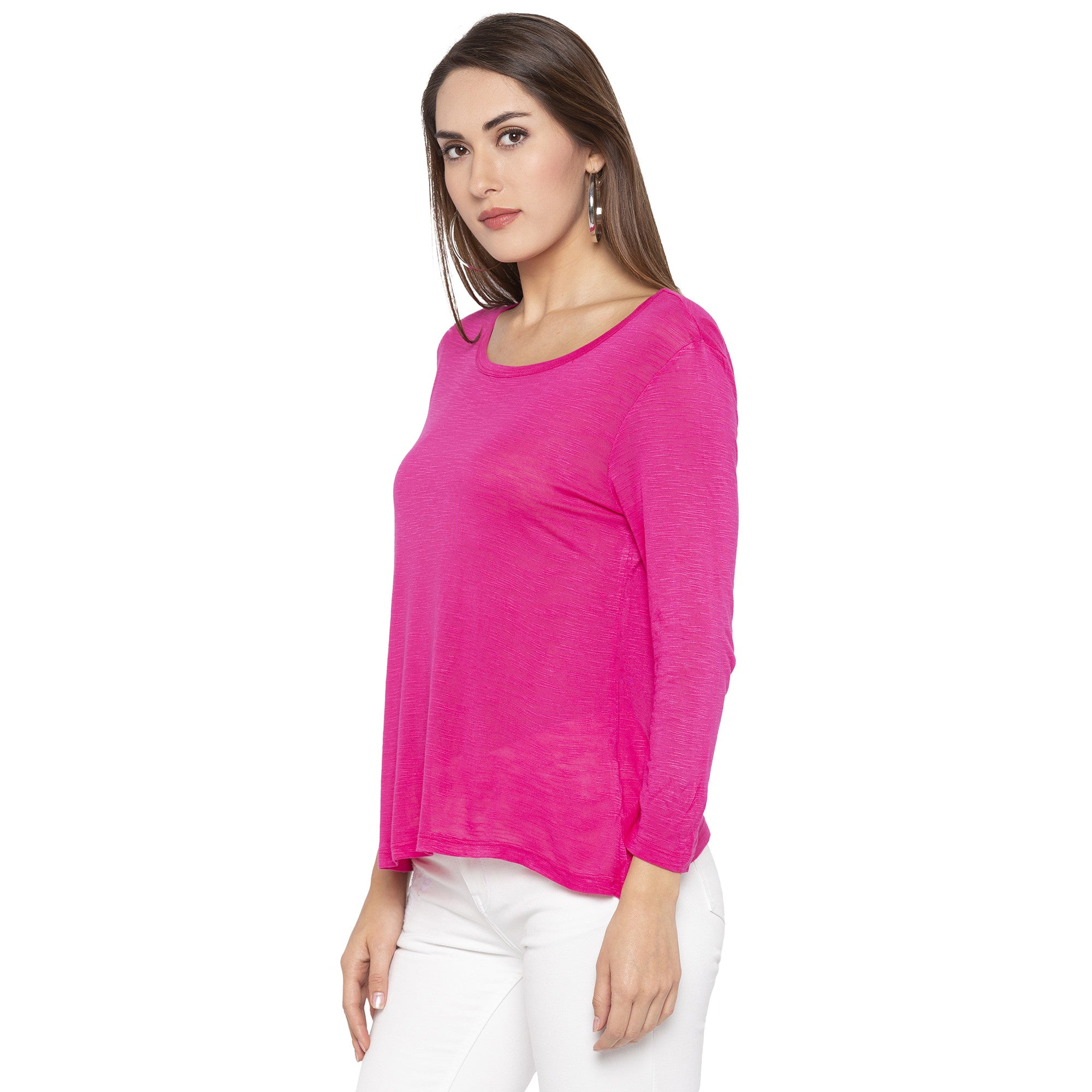 Casual Pink Color Solid Regular Fit Tops-2