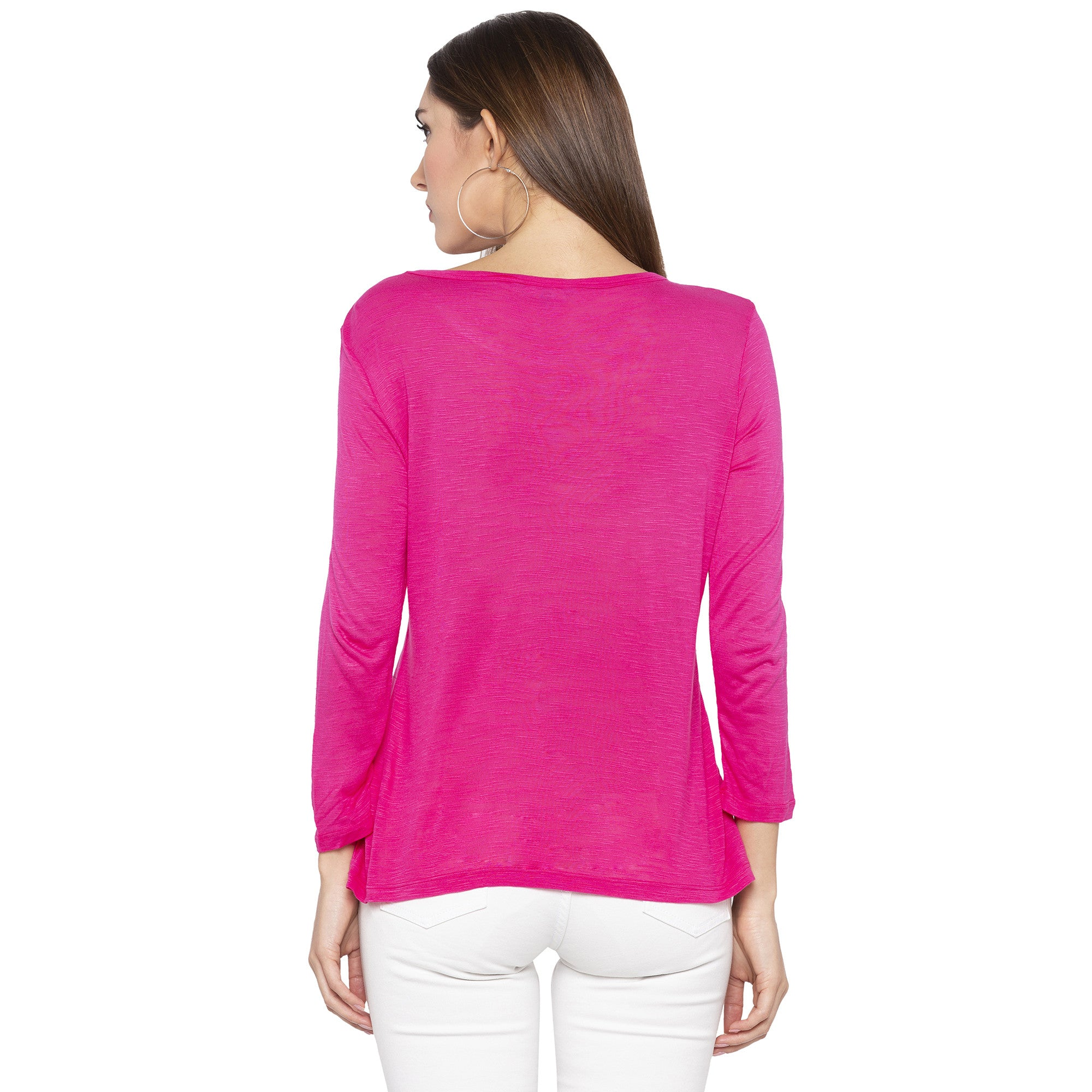 Casual Pink Color Solid Regular Fit Tops-3