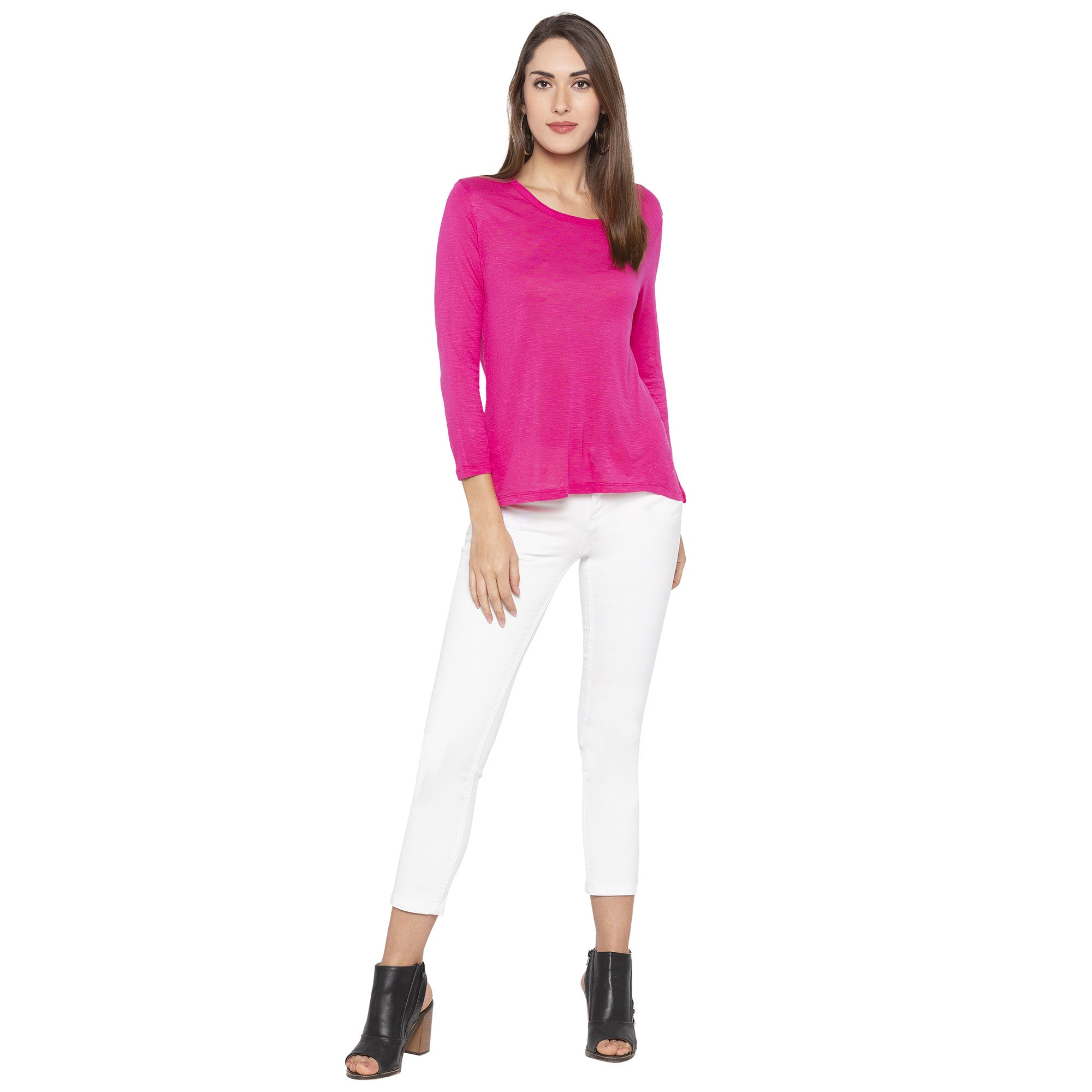 Casual Pink Color Solid Regular Fit Tops-4