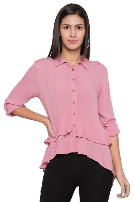 Layered Hem Solid Shirt-1