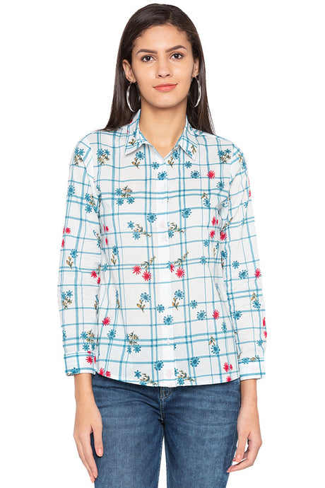 Checked Floral Print Shirt-1