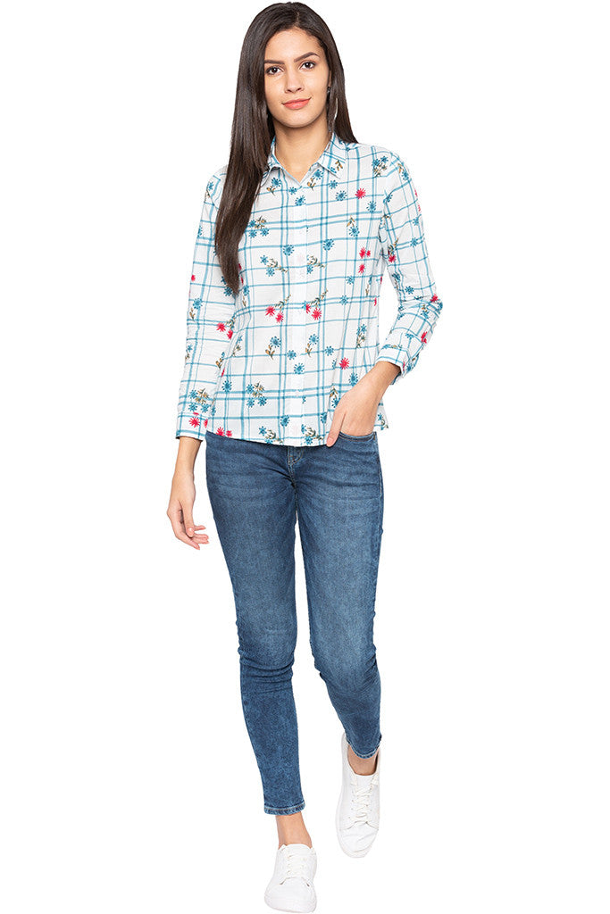 Checked Floral Print Shirt-2