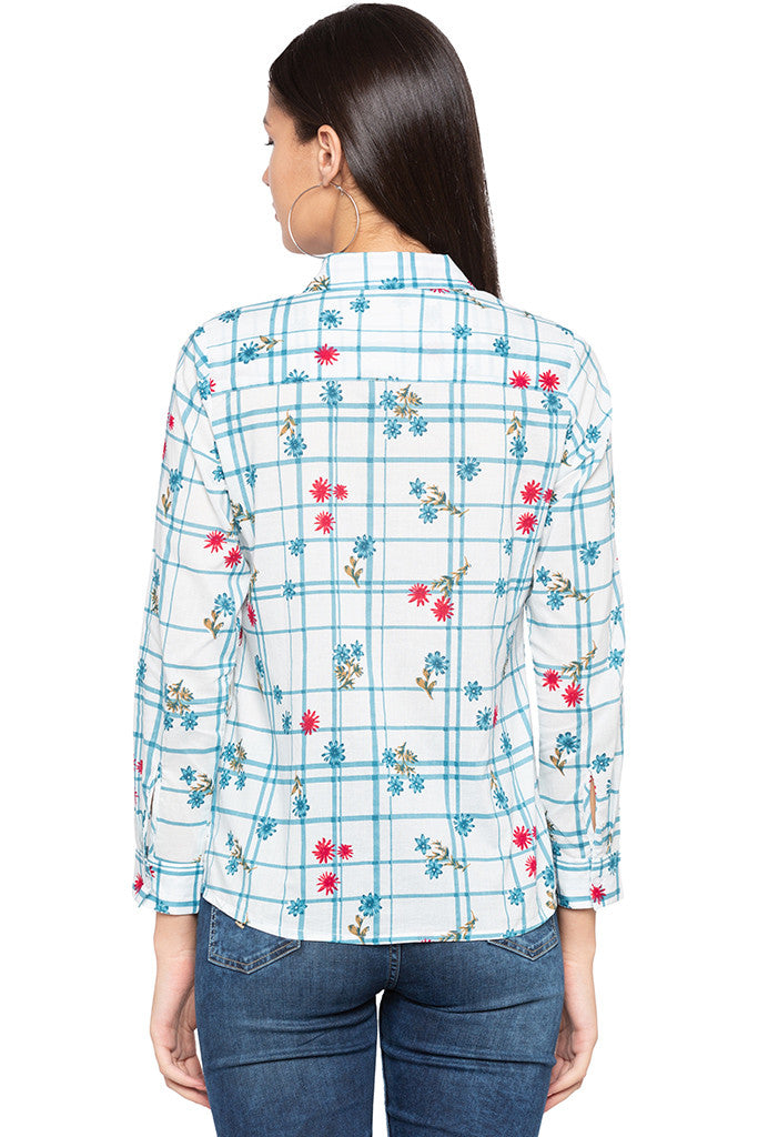 Checked Floral Print Shirt-3