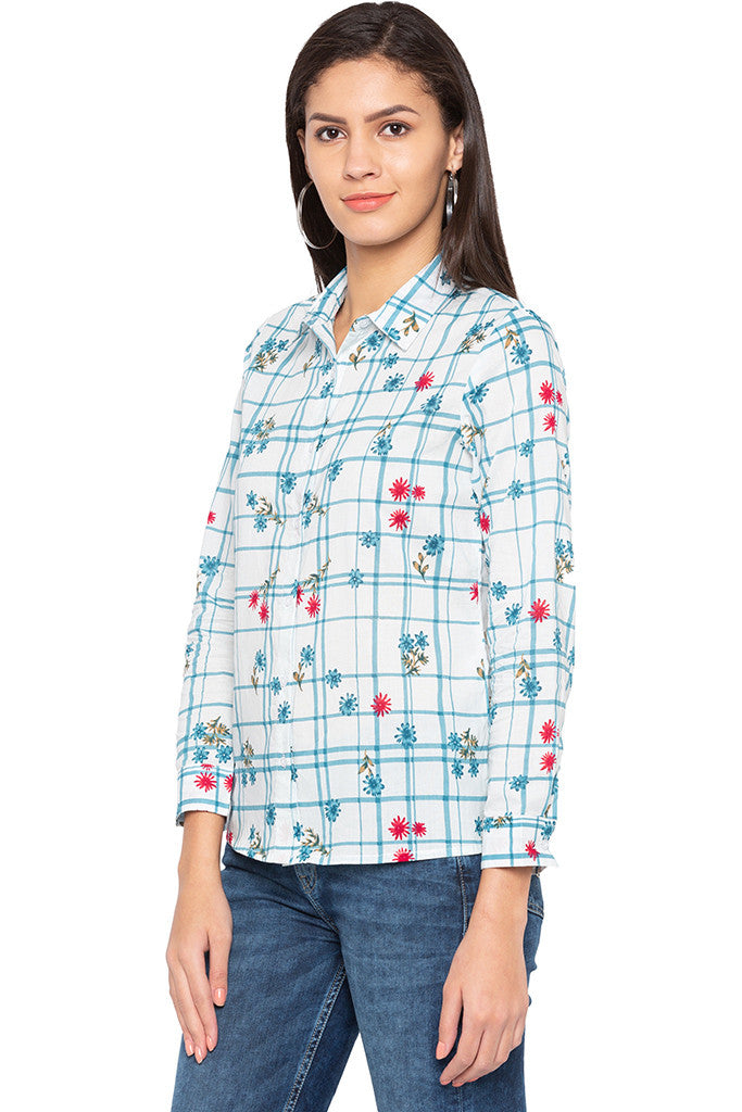Checked Floral Print Shirt-4