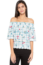 Load image into Gallery viewer, Off Shoulder Embroidered Hem Top-1