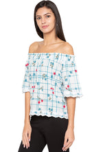 Load image into Gallery viewer, Off Shoulder Embroidered Hem Top-4